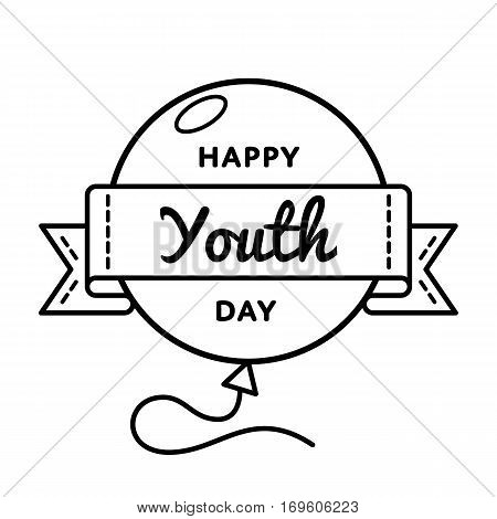 Happy Youth day emblem isolated illustration on white background. 24 april world cultural holiday event label, greeting card decoration graphic element