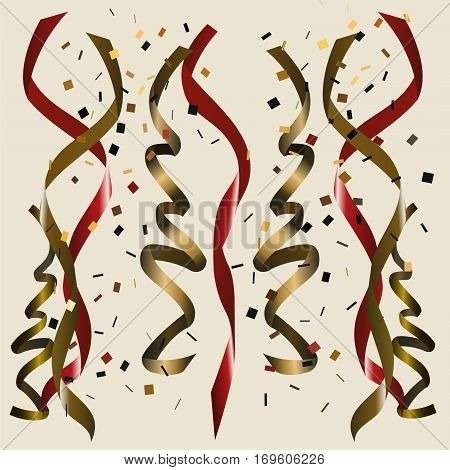 Shiny golden and red ribbon set with colored confetti on beige background