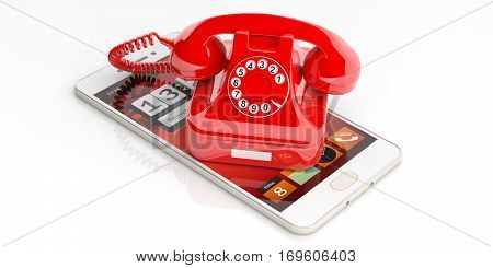 Red Old Telephone And Smartphone On White Background. 3D Illustration
