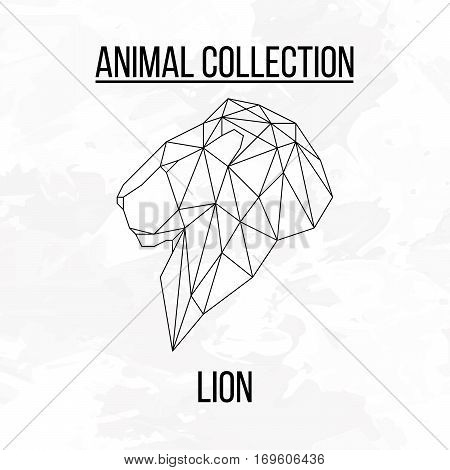 Lion head geometric lines side view silhouette isolated on white background vintage design element