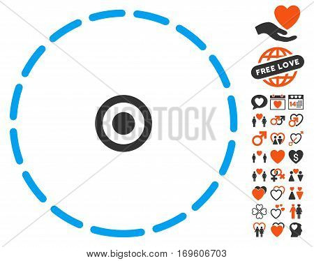 Round Area pictograph with bonus decorative pictograms. Vector illustration style is flat iconic symbols for web design app user interfaces.