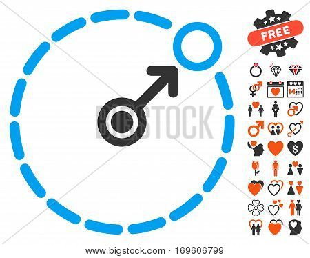 Round Area Border pictograph with bonus amour images. Vector illustration style is flat iconic symbols for web design app user interfaces.