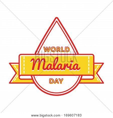 World Malaria day emblem isolated illustration on white background. 25 april world healthcare holiday event label, greeting card decoration graphic element