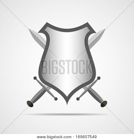 Shield and swords in flat design. Shield and sword icon isolated. Vector illustration.