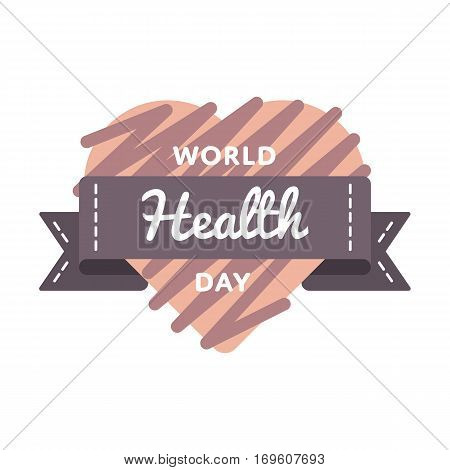 World Health day emblem isolated illustration on white background. 7 april world healthcare holiday event label, greeting card decoration graphic element