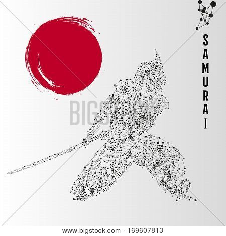 Abstract geometric molecule polygonal samurai silhouette isolated on gradient background