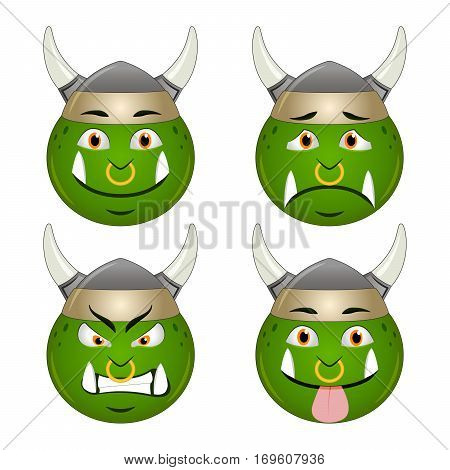 Orc smiley icon faces emotions sad angry sticking out tongue set, isolated on white background