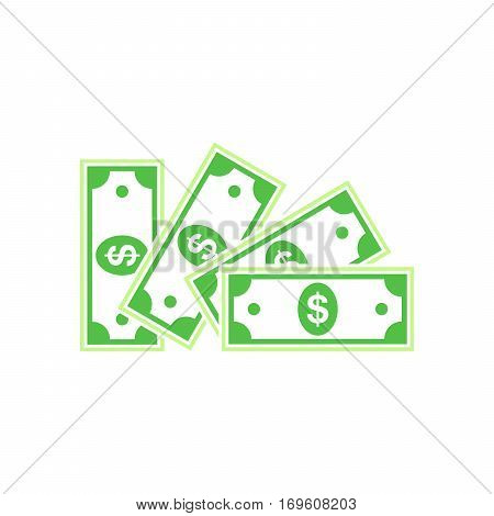 Several paper dollar money. Money icon in flat style. Green dollar icon. Vector illustration.