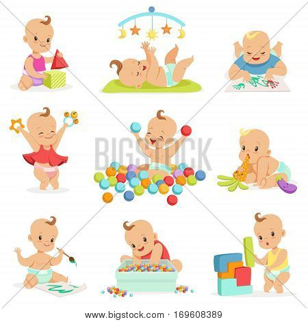 Adorable Girly Cartoon Babies Playing With Their Stuffed Toys And Development Tools Series Of Cute Happy Infants. Sweet Small Kids In Nappies Having Fun And Playing Games Vector Illustrations.