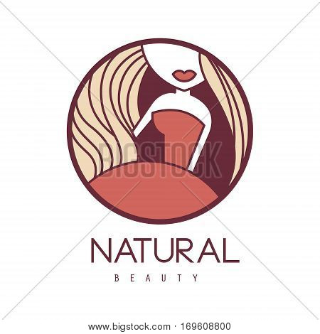 Natural Beauty Salon Hand Drawn Cartoon Outlined Sign Design Template With Woman In Red Dress Outfit Details In Round Frame. Artistic Promotion Logo For Cosmetology Services And Beautifying Procedures.