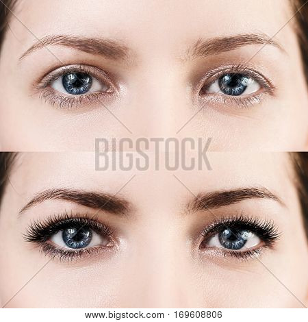 Comparison of female eyes before and after makeup and eyelash extension