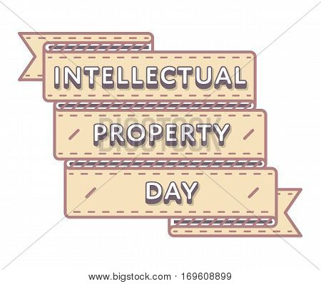 World Intellectual Property day emblem isolated illustration on white background. 26 april world holiday event label, greeting card decoration graphic element