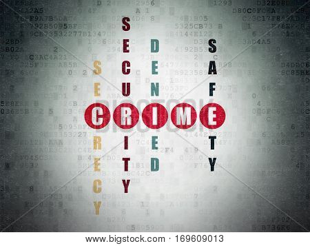 Security concept: Painted red word Crime in solving Crossword Puzzle on Digital Data Paper background