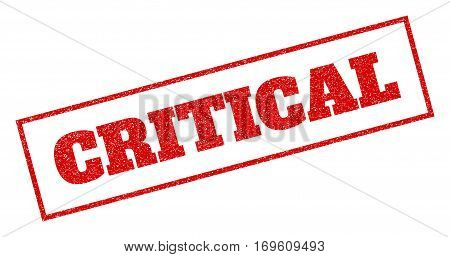 Red rubber seal stamp with Critical text. Vector tag inside rectangular frame. Grunge design and dirty texture for watermark labels. Inclined sign.