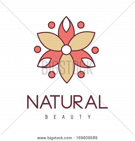 Natural Beauty Salon Hand Drawn Cartoon Outlined Sign Design Template With Red And Yelow Stylized Geometric Flower. Artistic Promotion Logo For Cosmetology Services And Beautifying Procedures.