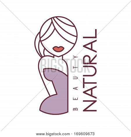 Natural Beauty Salon Hand Drawn Cartoon Outlined Sign Design Template With Half Body Of Blond Woman In Violet Dress. Artistic Promotion Logo For Cosmetology Services And Beautifying Procedures.