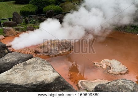 Blood pond hell in Beppu of Japan