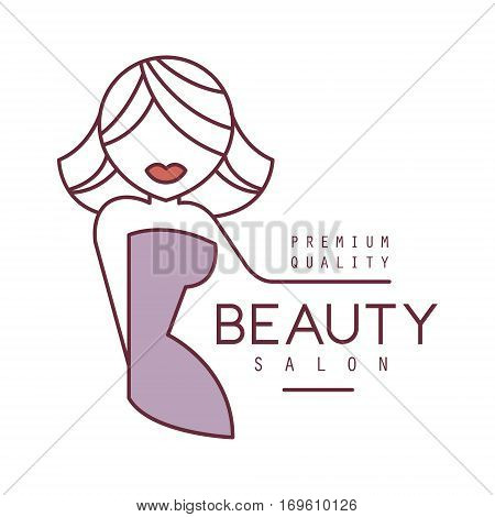 Natural Beauty Salon Hand Drawn Cartoon Outlined Sign Design Template With Blond Female Character Stylized To Underline Text With Arm. Artistic Promotion Logo For Cosmetology Services And Beautifying Procedures.