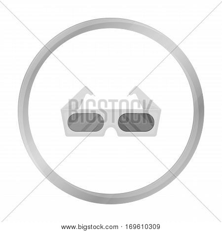 Anaglyph 3D glasses icon in monochrome style isolated on white background. Films and cinema symbol vector illustration.
