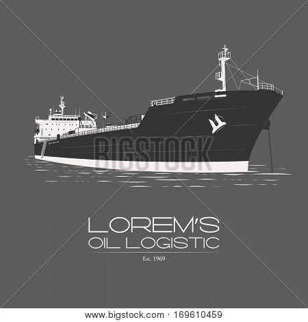 Lorem's mineral oil petroleum naphtha logistic logotype badge label isolated on grey background vintage illustration