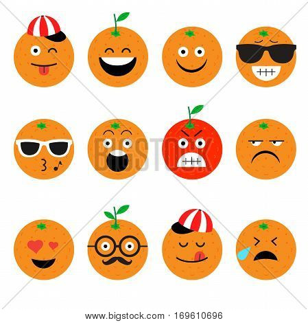 emojis. orange. fruit. summer. Set of emotional face on a white background. Flat vector emoticons. Set vector smiley. Characters smiley