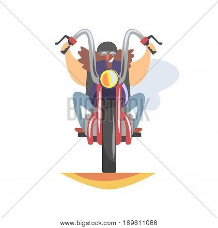 Outlaw Biker Club Member With Long Beard Approaching On Heavy Chopper In Leather Vest Smiling. Vector Illustration With Beardy Dangerous Looking Biker And Motorcycle With Subculture Attributes.