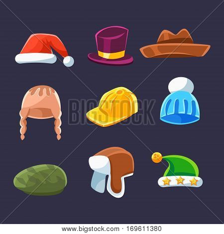 Different Types Of Hats And Caps, Warm And Classy For Kids And Adults Serie Of Cartoon Colorful Vector Clothing Items. Winter And Autumn Male Headpieces In Childish Bright Colors Collection Of Illustrations.