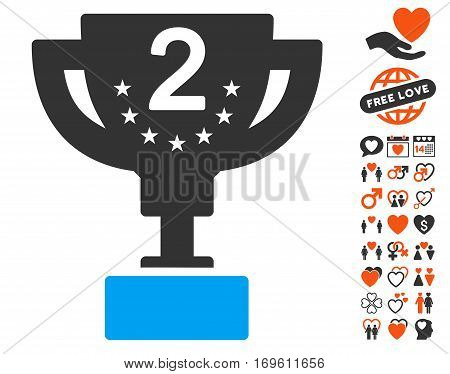Second Prize Cup pictograph with bonus decorative clip art. Vector illustration style is flat iconic symbols for web design app user interfaces.