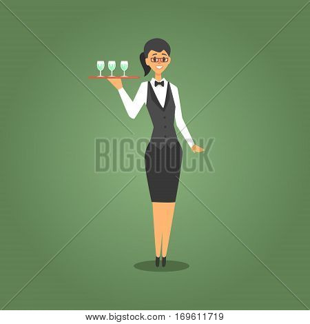 Female Waiter In Bow Tie Serving Champagne To Gamblers, Gambling And Casino Night Club Related Cartoon Illustration. Classic Las Vegas Gambling Club Cartoon Vector Drawing.
