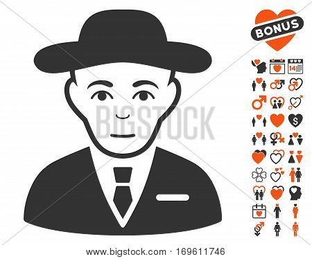 Secret Service Agent icon with bonus marriage pictograms. Vector illustration style is flat iconic symbols for web design app user interfaces.