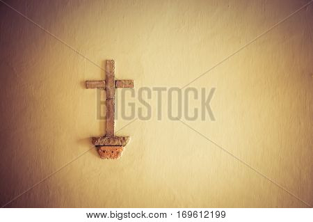 christ cross on the wall in white city popayan colombia south america