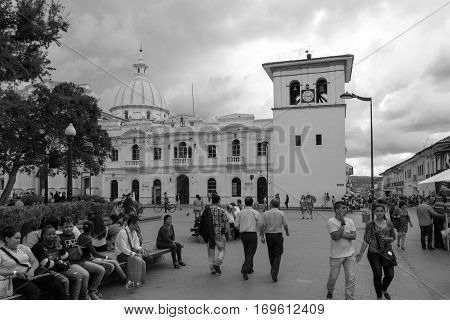 popayan, colombia - November, 27th, 2015 - main square in white city popayan colombia south america