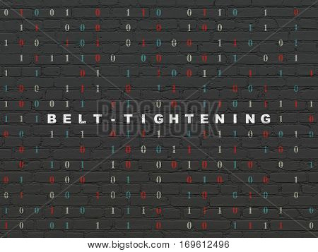 Business concept: Painted white text Belt-tightening on Black Brick wall background with Binary Code