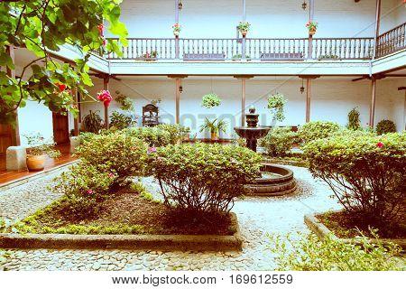 private garden in white city popayan colombia south america