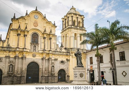catholic cathedral in white city popayan colombia south america