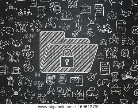 Finance concept: Chalk White Folder With Lock icon on School board background with  Hand Drawn Business Icons, School Board