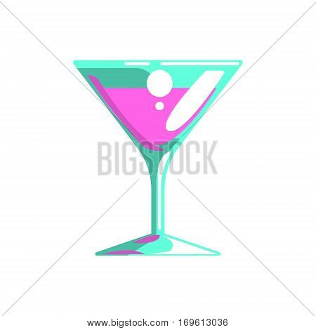 Fancy Cocktail Served In Martini Glass, Gambling And Casino Night Club Related Cartoon Illustration. Classic Las Vegas Gambling Club Cartoon Vector Drawing.