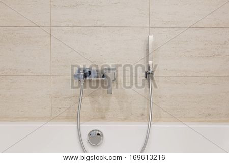 bathroom Interior. Shower Mixer close-up background of a wall