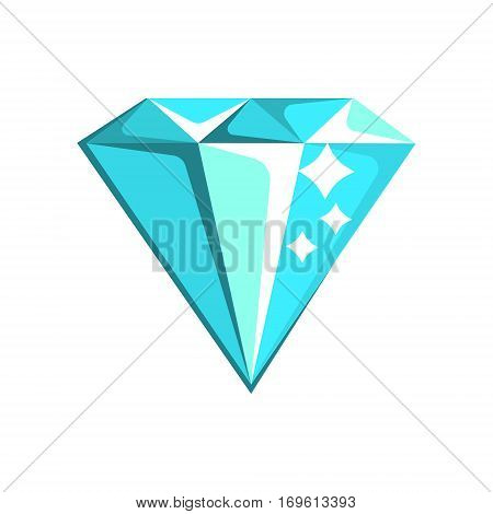Blue Diamond Element From Slot Machine, Gambling And Casino Night Club Related Cartoon Illustration. Classic Las Vegas Gambling Club Cartoon Vector Drawing.