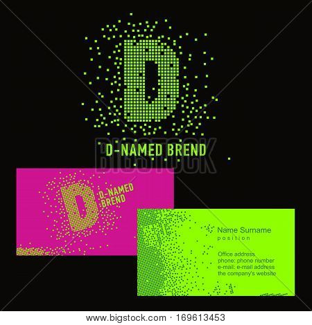 Template D brand name -Company. Corporate identity for the company on the letter D: logo, business card. Creative logo of pixels consists of particles letter D