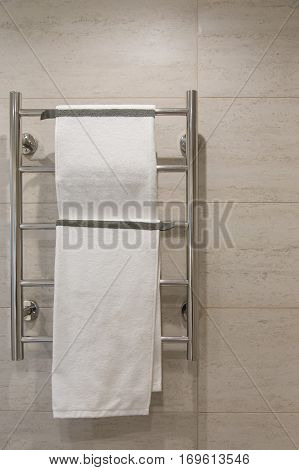 bathroom Interior. Towel rack close-up background of a wall