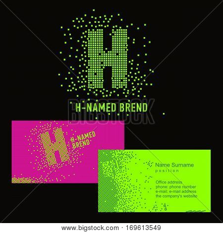 Template H brand name -Company. Corporate identity for the company on the letter H: logo, business card. Creative logo of pixels consists of particles letter H