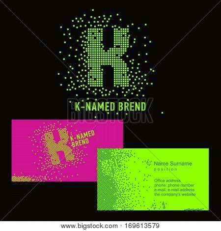 Template K brand name -Company. Corporate identity for the company on the letter K: logo, business card. Creative logo of pixels consists of particles letter K