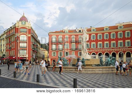 NICE, FREANCE - JUL 24, 2016: Caisse d Epargne Cote d Azur on Place Massena, Nice - one of Europe most popular holiday resorts