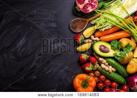 Food Frame With Vegetables And Fruits