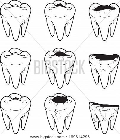 Tooth Caries vector icon. Style is a flat tooth caries black and white iconic symbol on a gray square background.