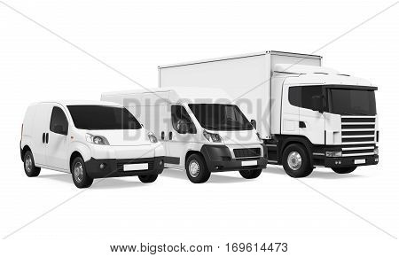Fleet of Delivery Vehicles isolated on white background. 3D render