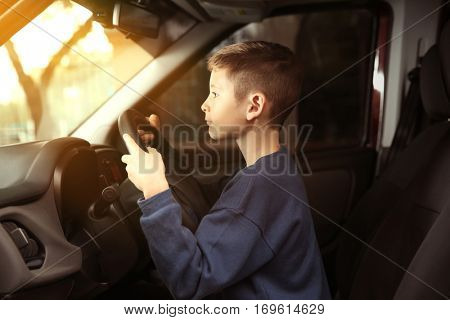 Cute little boy pretending to drive a car poster