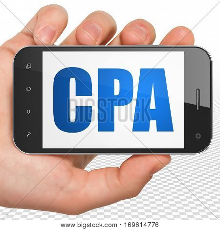 Finance concept: Hand Holding Smartphone with blue text CPA on display, 3D rendering