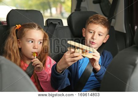 Cute children in car on backseat